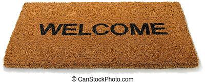 mat, deur, achtergrond, vrijstaand, voorkant, welkom, witte