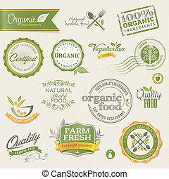 mat, etiketter, organisk, elementara