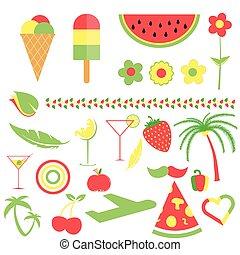 mat färga, symbol, tre, illustration