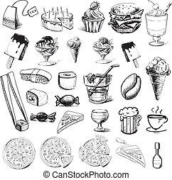 mat, fasta, kollektion, drycken