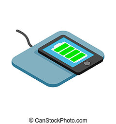 Mat for charging phone icon, isometric 3d style