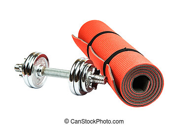 mat for fitness with dumbbells
