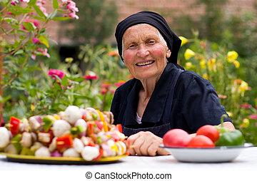mat, frisk, kvinna, äldre