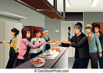 mat, frivilliga, tjänande, hemlösa folk