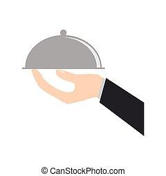mat, hand, bricka, holdingen, catering