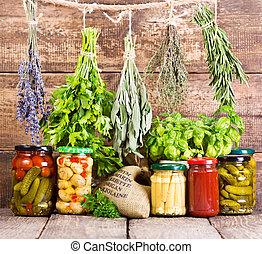 mat, hermetisk, frisk, olika, örtar