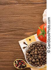 mat, ingrediens, och, kryddor, på, ved