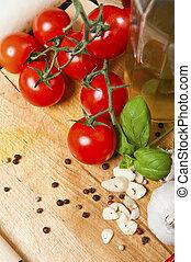 mat, ingredienser, på, den, ek, bord, närbild, skott