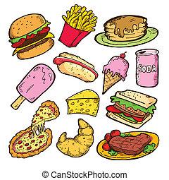 mat, klotter, skräp