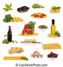 mat, kollektion, italiensk