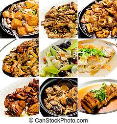 mat, kollektion, kinesisk, asiat