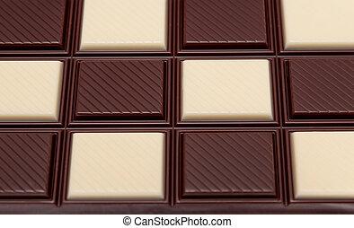 mat, kollektion, -, svartvitt, choklad