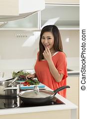 mat, kvinna, asiat, förberedande, kök