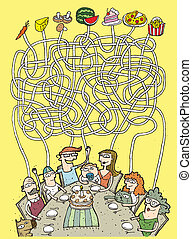 mat, labyrint, lek, familj