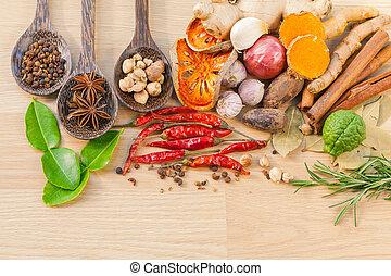 mat, matlagning, ingredients., -, krydda, tast