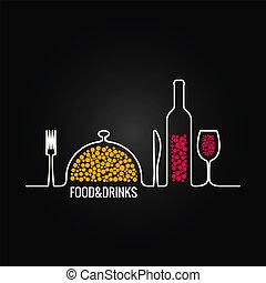 mat, meny, dricka, bakgrund