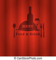 mat, meny, dricka, restaurang