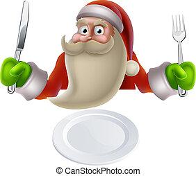 mat, middag, äta, jul, jultomten