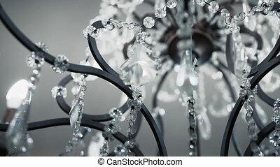 mat, noir, lustre, luxueux, apartment., beau, cristal