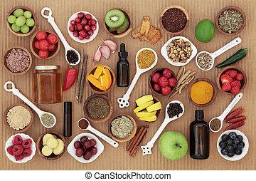 mat, och, medicin, för, kyla bota