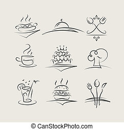 mat, och, utensils, sätta, av, vektor, ikonen