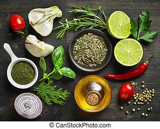 mat, olika, ingredienser