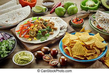 mat, olika, mexikanare, ingredienser