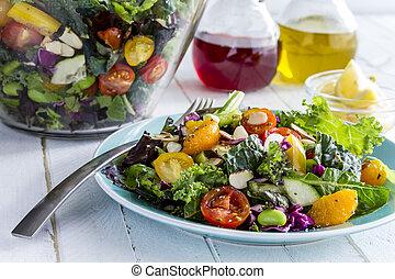 mat, organisk, vegetarian, toppen, sallad