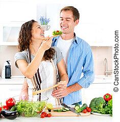 mat, par, tillsammans., lycklig, hälsosam, matlagning, ...