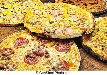 mat, pizza, struktur