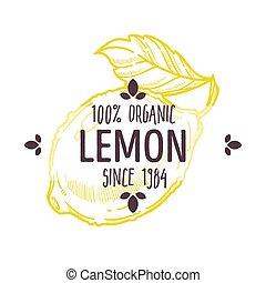 mat, procent, etikett, citronträd, emballering, citron, alla...