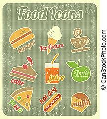 mat, sätta, ikonen