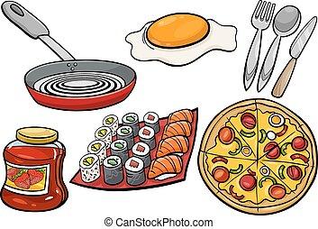 mat, sätta, tecknad film, objekt, kök