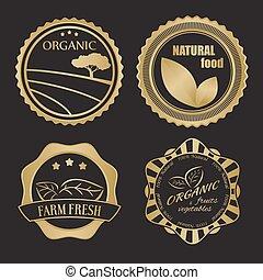 mat, text, olik, etiketter, organisk