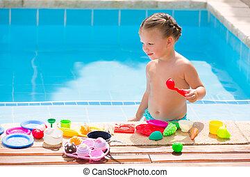 mat, unge, toys, flicka, liten knatte, spelande damm, simning