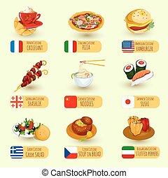 mat, värld, sätta