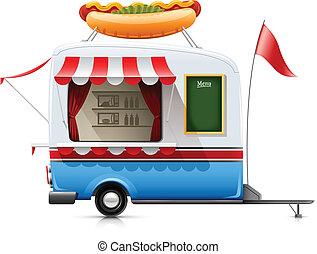 mat, varm, släpvagn, fasta, hund