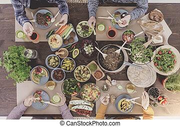 mat, vegetarian, brunch