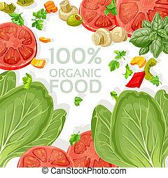 mat, vegetarian, organisk, bakgrund
