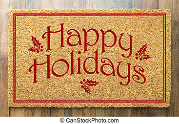 mat, vloer, welkom, feestdagen, tad, hout, achtergrond, kerstmis, vrolijke