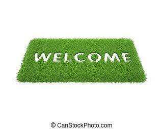 mat, welkom, groene, woorden, afdrukken, gras