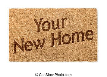 mat, welkom, nieuw huis, witte , jouw