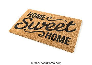 mat, zoet, welkom, vrijstaand, thuis, witte