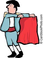 Matador - A cartoon image of a bullfighter with red cloak.