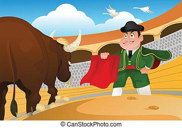 Matador and a bull - A vector illustration of a matador and...