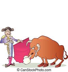 Matador and Bull - Cartoon illustration of Matador and Bull