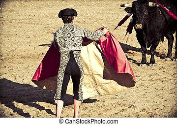 Matador and bull in bullfight. Madrid, Spain.