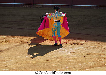 Matador and bull in the bullfight arena in Sevilla, Spain.