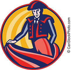 Illustration of a matador bullfighter with cape set inside circle done in retro style.