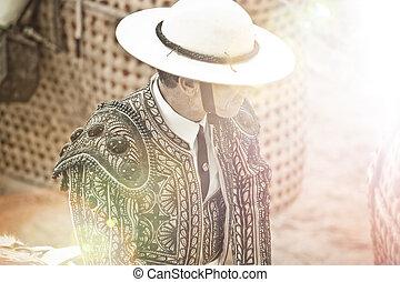 matador, en, plaza de toros, españa, madrid